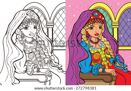 Colouring book.Beautiful Russian princess in sundress - stock vector