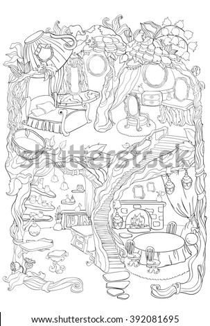 Colouring Page Of Fairy House