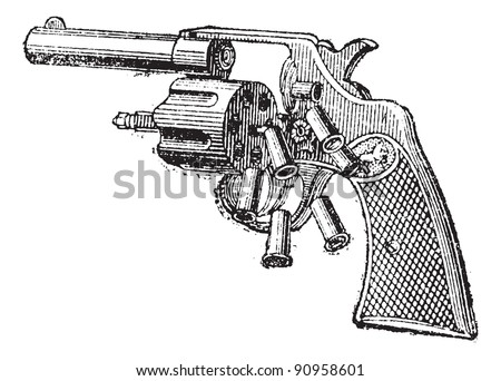 Colt Revolver, vintage engraved illustration. Dictionary of words and things - Larive and Fleury - 1895. - stock vector