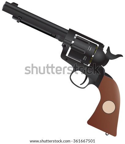 Colt with a wooden handle and the drum for 6 rounds.