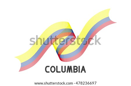 Columbia Flag Abstract Columbia Ribbons Isolated Stock Vector
