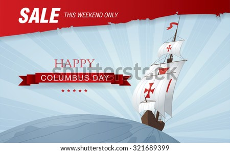 Columbus Day. Sale - stock vector
