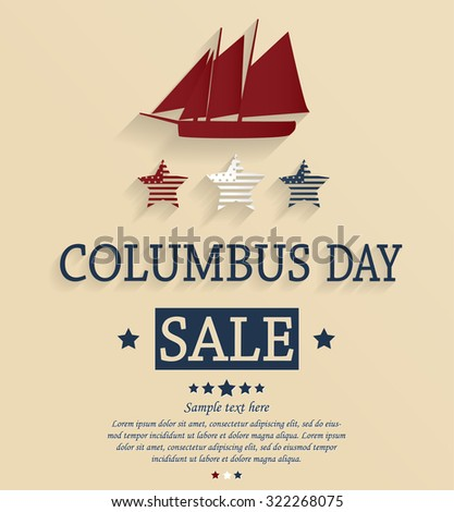 Columbus Day sale card. Vector illustration.