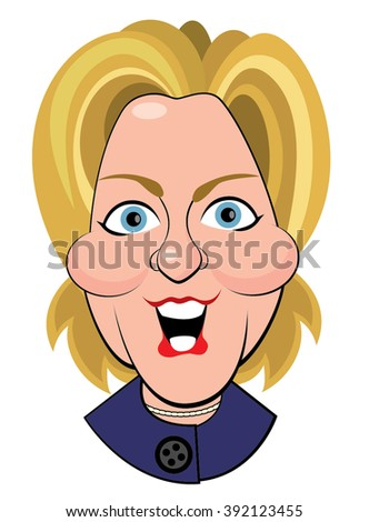 Columbus, Ohio - March 13, 2016 A vector illustrative editorial caricature, vector illustration of Hillary Clinton, addressing a Democratic Party Town Hall. - stock vector