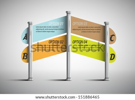 column with the direction of movement / template for presentations - stock vector