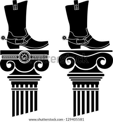 columns and boots with spurs. stencils. vector illustration - stock vector
