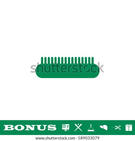Comb icon flat. Green pictogram on white background. Vector illustration symbol and bonus button