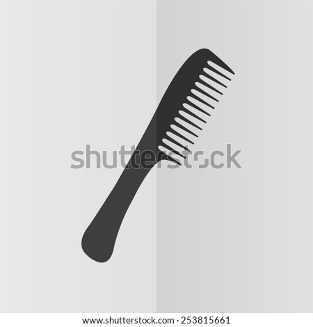 Comb vector icon. Effect of folded paper. Flat design - stock vector