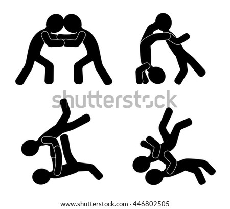 Combat. Human silhouettes fighting - stock vector