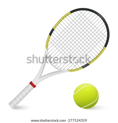 Combinated tennis racket and ball isolated on white background. Vector EPS10 illustration.