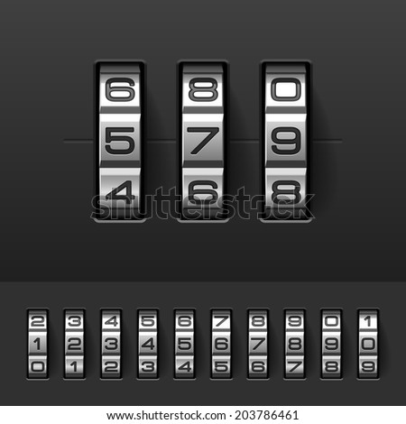Combination, code lock numbers. Vector. - stock vector