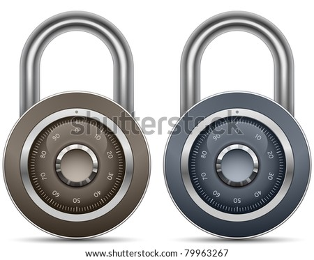 Combination Lock Collection. Security Concept. Vector illustration of padlock - stock vector