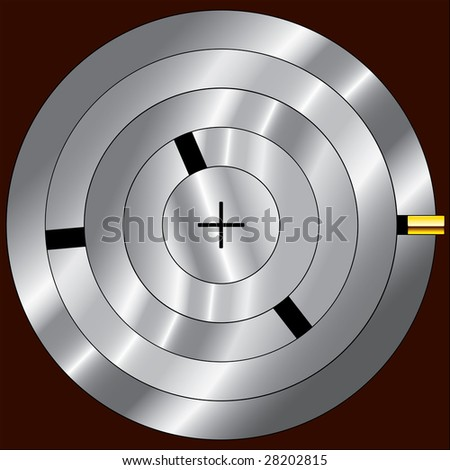 combination lock mechanism. square composition, with an aperture on a turn-key basis in the center. vector. illustration - stock vector
