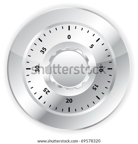 Combination lock on white background. Vector illustration.