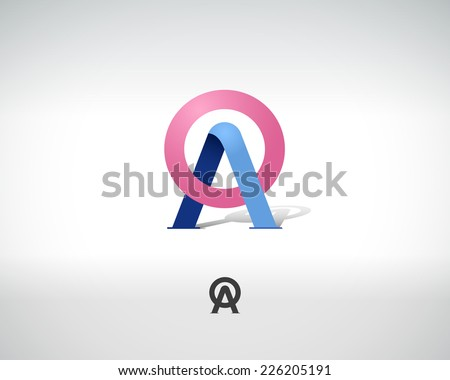 Combination of Letters A and O. Abstract Vector Logo Design Template. Creative Concept Icon - stock vector