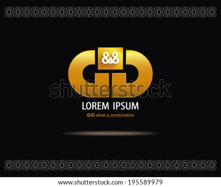 Combination of Letters G and D. Abstract Vector Emblem Design Template. Creative Gold Concept Icon - stock vector