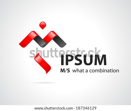 Combination of Letters M and S. Abstract Vector Design Template. Creative Concept Red Black Icon - stock vector