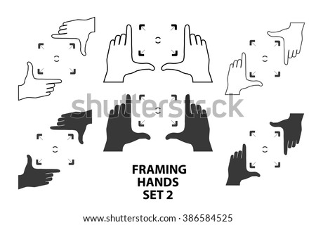 Combinations of hands making frame with fingers. Framing hands as a template for design set2. Vector illustrations of perspective view. - stock vector