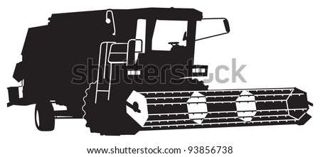 combine harvester silhouette - stock vector