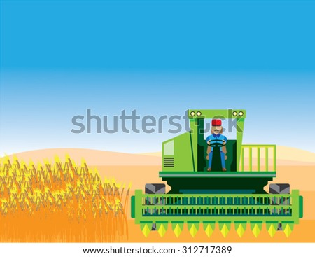 Combine Mows and Harvests crops vector - stock vector