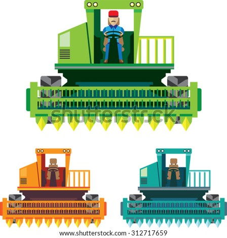 Combine with farmer inside Vector illustration - stock vector