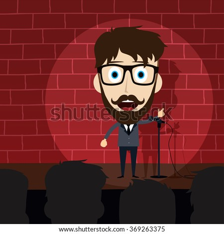 Comedian Doing Stand Up - Cartoon Character - stock vector