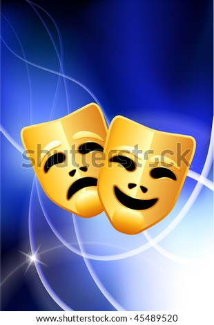 Comedy and Tragedy Masks on Abstract Light Background Original Vector Illustration EPS10