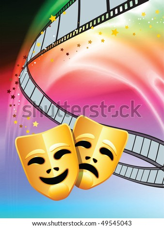 Comedy and Tragedy Masks on Abstract Liquid Wave Background Original Vector Illustration - stock vector