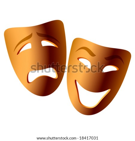 Comedy and tragedy masks. Vector. - stock vector