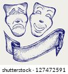 Comedy and tragedy theater masks. Doodle style - stock vector