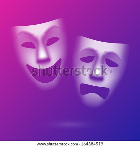 Comedy and tragedy theatrical masks. Easy to edit background color - eps10. - stock vector
