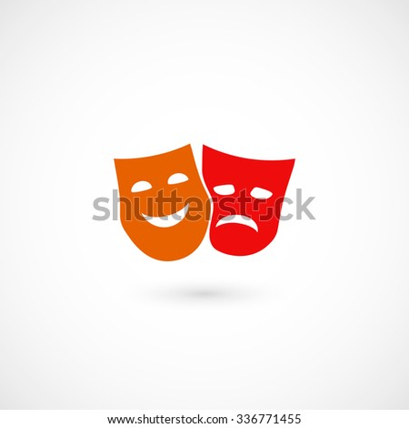 Comedy and tragedy theatrical masks. Happy and sad masks icons. Isolated on white background. Vector illustration, eps 10. - stock vector