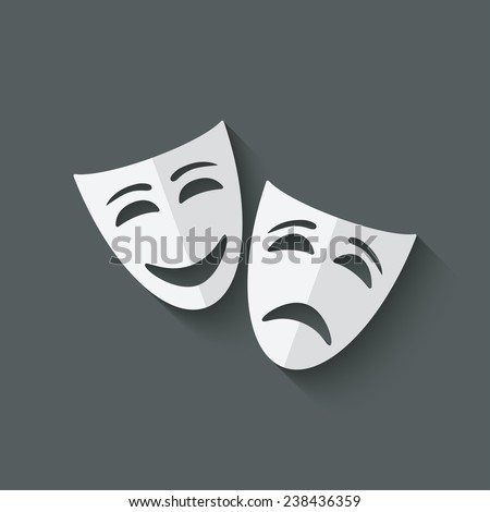 comedy and tragedy theatrical masks - vector illustration. eps 10 - stock vector