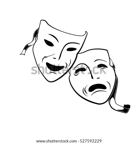 Comedy and tragedy theatrical masks. Vector Illustration Isolated On White Background