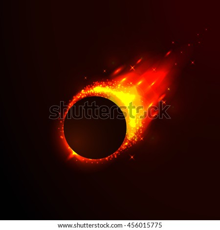Comet in space, meteor and energy, asteroid glow, powerful star moving. Vector illustration.  - stock vector