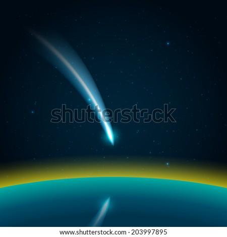 Comet in space vector - stock vector