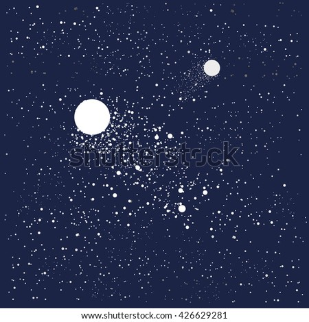Comet on a starry sky vector illustration - stock vector