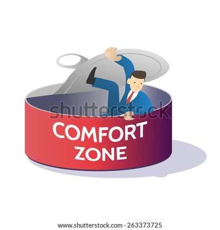 comfort zone can business man try to open and get out ,vector illustration isolate on white background. - stock vector