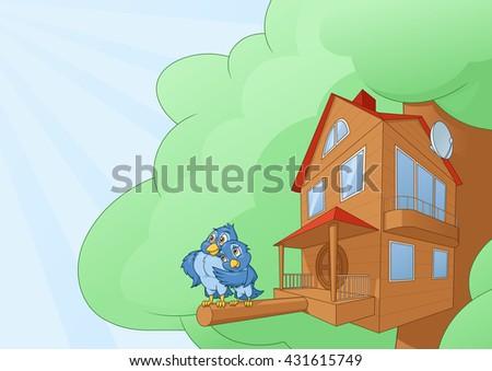 Comfortable bird house - stock vector