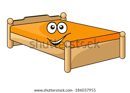 Comfortable cartoon bed with a colorful orange mattress with a happy smiling face isolated on white - stock vector