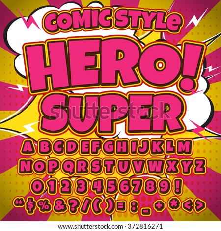 Comic alphabet set. Pink color version. Letters, numbers and figures for kids' illustrations, websites, comics, banners.