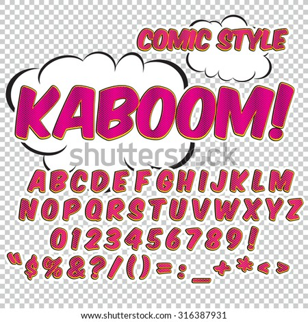 Comic alphabet set. Pink halftone color version. Letters, numbers and figures for kids' illustrations, websites, comics, banners. - stock vector