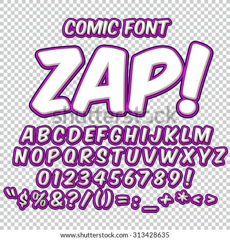 Comic alphabet set. Violet color version. Letters, numbers and figures for kids' illustrations, websites, comics, banners. - stock vector
