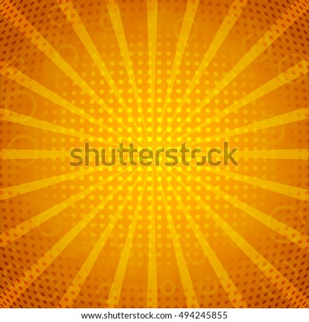 Comic background. Halftone vector illustration with rays