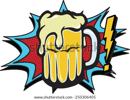 comic beer - stock vector