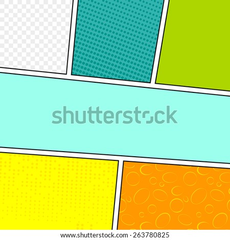 Comic blank layout template background pop-art style. Vector illustration.  - stock vector