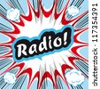 Comic book background Radio! sign Card Pop Art office stamp with the word Radio - stock vector