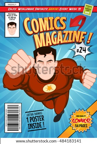 Comic Book Cover Template Illustration Cartoon Editable Stock