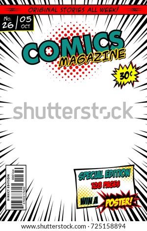 comic book cover vector template white stock vector 725158894 shutterstock. Black Bedroom Furniture Sets. Home Design Ideas