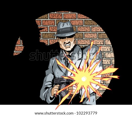 Comic book drawing of a gangster with a tommygun - stock vector